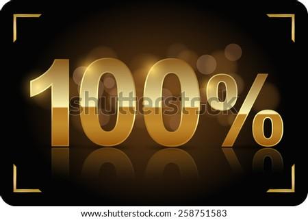 gold 100 percent - stock vector