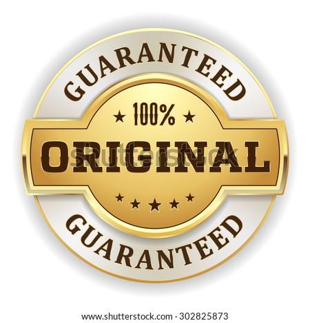 Gold 100 percent original badge on white background - stock vector