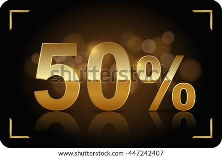 Gold 50 percent. Vector image. - stock vector