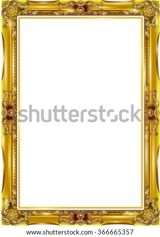 Gold photo frame with corner line floral for picture, Vector design decoration pattern style. - stock vector