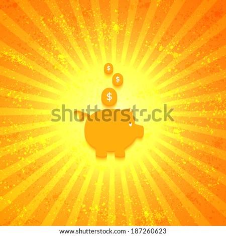 Gold piggy bank on sunburst orange background - stock vector