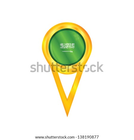 Gold pin with the national flag of Saudi Arabia - stock vector