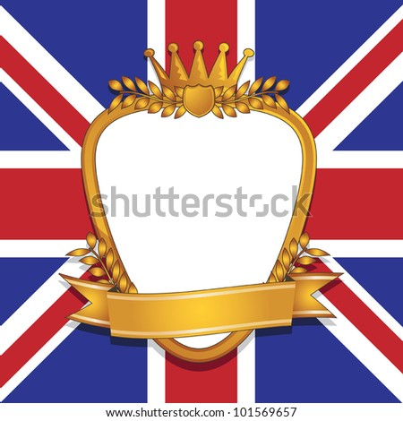 gold plaque and ribbon decoration on union jack background - stock vector