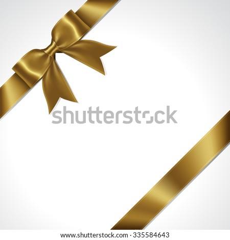 Gold ribbon bow vector - stock vector