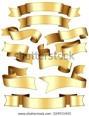 Gold ribbon collection. Ten ribbon on white background. - stock vector