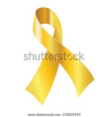Gold ribbon - symbol of childhood cancer awareness. - stock vector