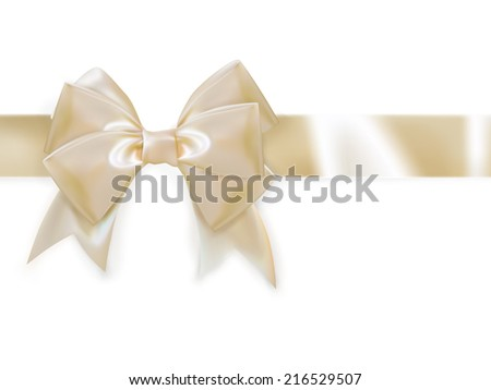 Gold ribbon with bow isolated on white. EPS 10 vector file included - stock vector