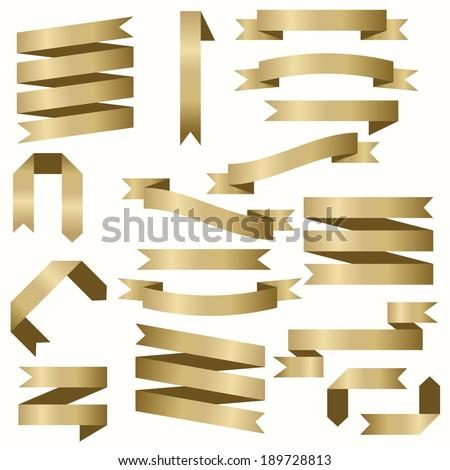 Gold ribbons - stock vector