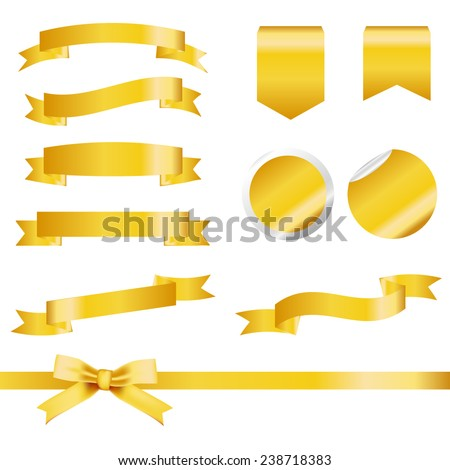 Gold Ribbons Set isolated On White Background. Vector Illustration - stock vector