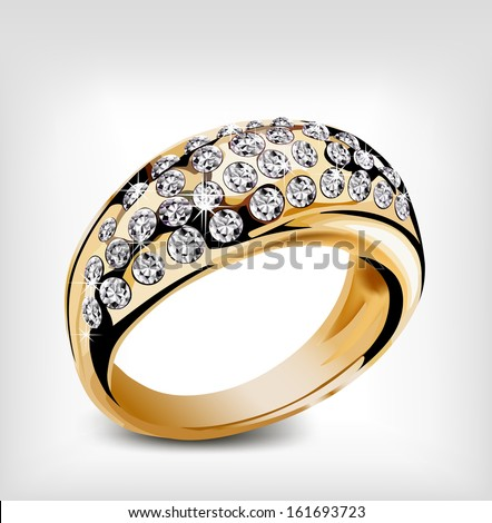 Gold ring with some diamonds. Vector illustration - stock vector