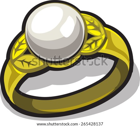 gold ring with white pearl - stock vector