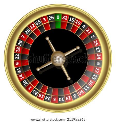 Gold roulette wheel. Vector illustration. - stock vector