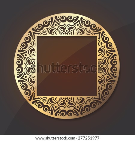 Gold round lace design element with shadow and a square middle place for your text or decor - stock vector