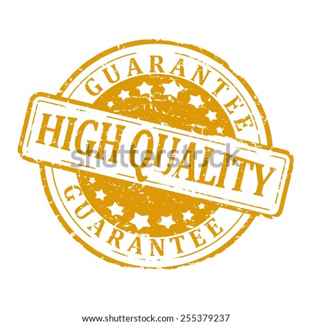 "Gold round stamp with the word ""guarantee high quality"" - vector - stock vector"