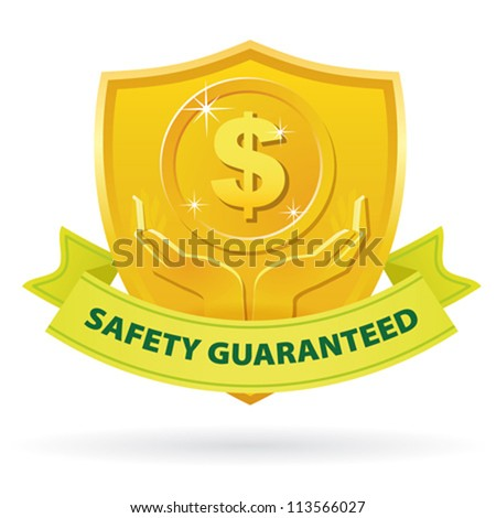 Gold Safety Guaranteed money label icon with green ribbon - stock vector
