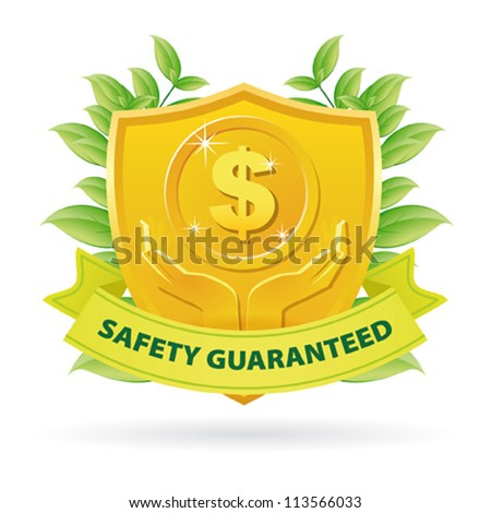 Gold Safety Guaranteed money label icon with green ribbon and leaves - stock vector