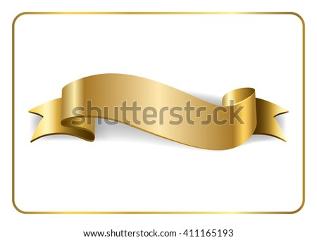 Gold satin empty ribbon. Golden blank banner. Design decoration element, isolated on white background. Vintage retro style. Template flag, greeting, card. Symbol guarantee product. Vector illustration - stock vector