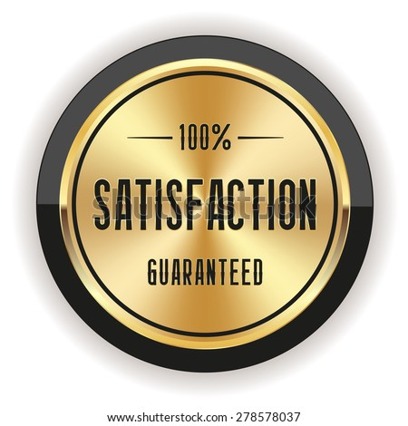 Gold satisfaction badge with black border on white background - stock vector
