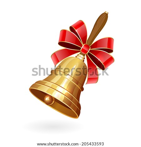 Gold school bell with bow isolated on white background, illustration. - stock vector