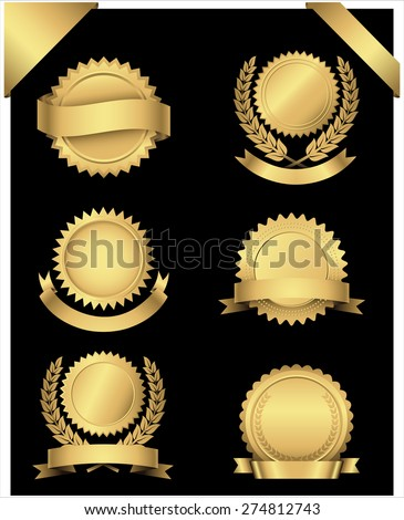 Gold Seals and Corners - Set of 6 different gold seals with banners and wreaths, and 2 gold corner banners.  Colors are just a few global swatches, so they can be modified easily.   - stock vector
