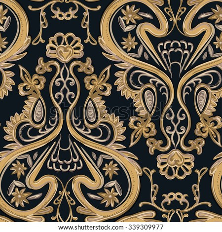 Gold seamless pattern on a dark background.  - stock vector