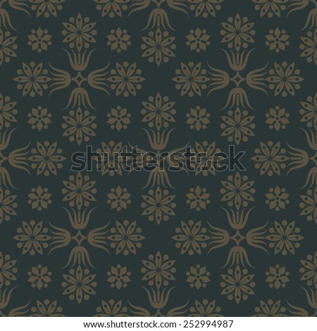 Gold seamless pattern on dark green background with floral elements. Tracery  for wallpaper and fabric. Editable vector file. - stock vector