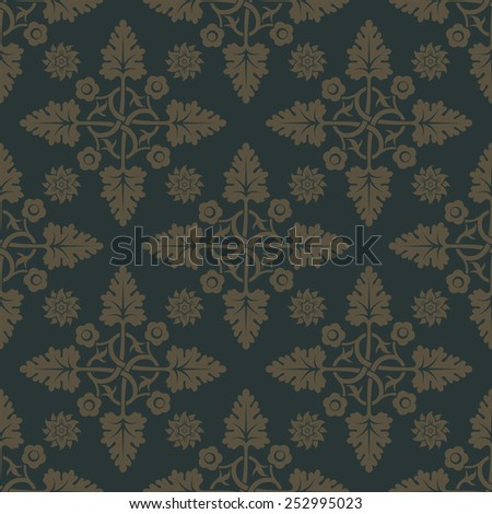 Gold seamless pattern on dark green background with floral elements. Weave for wallpaper and textile. Editable vector file. - stock vector