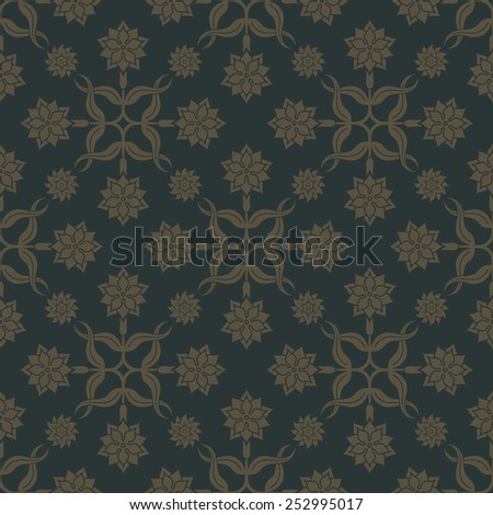 Gold seamless pattern on dark green background with floral elements. Weave for wallpaper and tissue. Editable vector file. - stock vector
