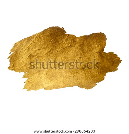 Gold Shining Paint Stain Hand Drawn Illustration - stock vector