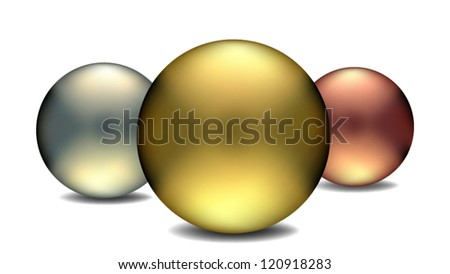 Gold, Silver and Bronze - stock vector
