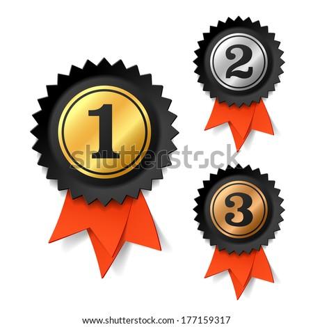 Gold, silver and bronze award ribbons. Vector. - stock vector