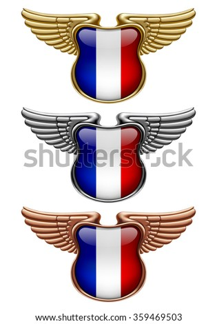 Gold, silver and bronze award signs with wings and France state flag. Vector illustration - stock vector