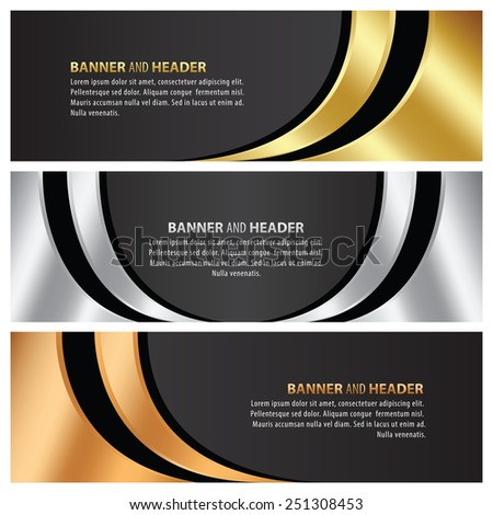 gold, silver and bronze banner template design - stock vector