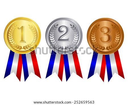 Gold , silver , and bronze medal set with red blue silver mix color ribbons - stock vector