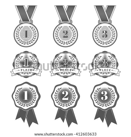 Gold, Silver and Bronze medals. Set with flat medal icons for first, second and third places. Vector illustration. EPS 10 - stock vector