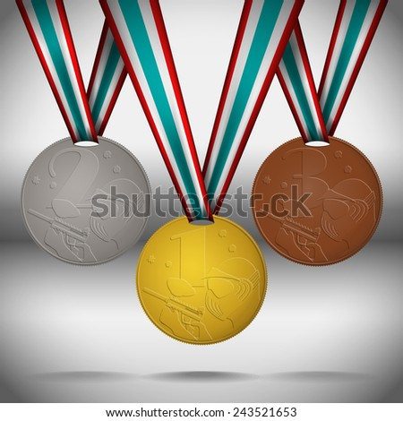 Gold, silver and bronze medals with ribbons dedicated paintball competitions. Vector illustration. - stock vector