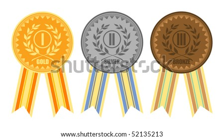 Gold, silver and bronze medals with ribbons, vector illustration - stock vector