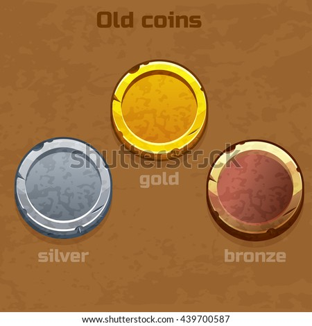 gold, silver and bronze old coins, resource gaming element - stock vector