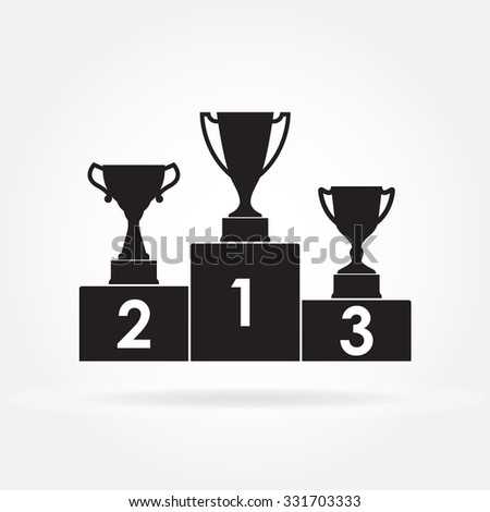 Gold, Silver and Bronze Trophy Cup on prize podium. First place award. Champions or winners Infographic elements isolated on white background. Vector illustration. - stock vector