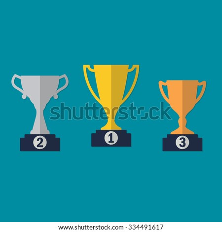 Gold, Silver and Bronze Trophy Cup on prize podium. First place award. Different champions or winners cups in flat style. Vector illustration. - stock vector