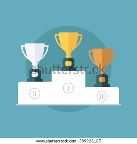 Gold, silver and bronze trophy cup on prize podium. Flat design vector illustration. - stock vector