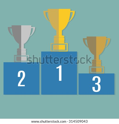 Gold, Silver and Bronze Trophy Cup on prize podium. Infographic elements. Vector illustration. - stock vector