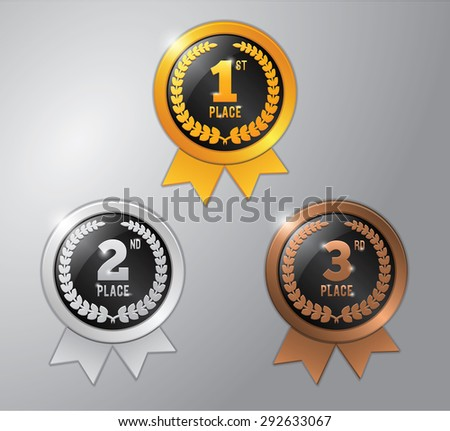 gold, silver and bronze winner badge with ribbon - stock vector