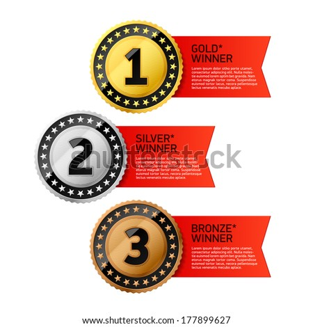 Gold, Silver and Bronze winners medals. Vector. - stock vector