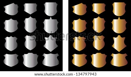 gold  silver badge vector art - stock vector