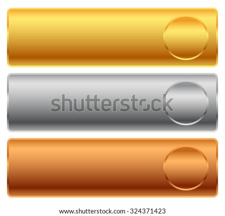 Gold, silver, bronze bars, banners. - stock vector