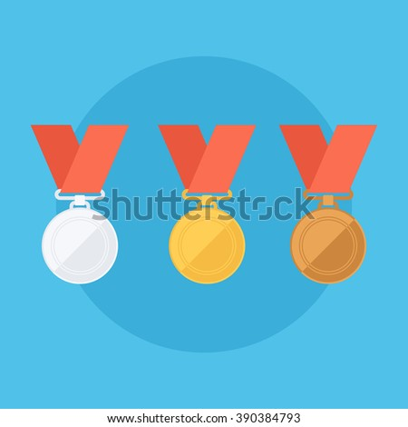Gold, silver, bronze medals. Flat design vector illustration. - stock vector