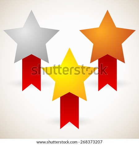 Gold, Silver, Bronze Stars with Red Ribbons - stock vector