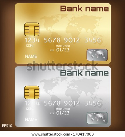 Gold/silver credit card or smart card template design - stock vector
