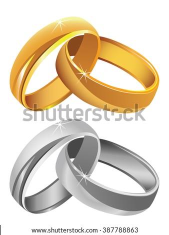 Gold & silver wedding rings vector - stock vector